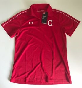 UNDER ARMOUR MLB CLEVELAND INDIANS BLOCK C POLO SHIRT HEAT GEAR SIZE M NEW NWT