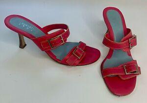 Lambertson Truex Womens Heeled Sandals Pink Leather Buckle Slip On Italy 37 1/2