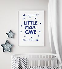 Little Man Cave Arrow Navy Nursery Print Kids Bed Room Boys Wall Art Picture