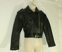 Women's Black Leather LIMITED EXPRESS Belted Biker Waist Length Jacket Size M