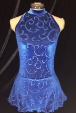 ROYAL BLUE Ice Figure Skating Competition Dress GIRLS MEDIUM  8 / 9 /10