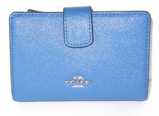 Coach Lapis Blue Cross Grain Leather Medium Corner Zip Wallet F54010 New NWT$165