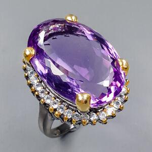 27ct+ Vintage SET Amethyst Ring Silver 925 Sterling  Size 9.25 /R159043
