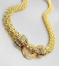 CLASSIC Designer Style Gold Crystals Ring BALINESE Filigree Mesh Chain Necklace