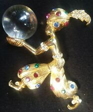 Vtg SIGNED CASTLECLIFF GENIE WITH CRYSTAL BALL BROOCH, PIN, THE ONLY ONE ON EBAY