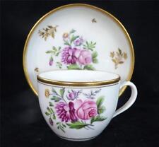 C1800 antique Newhall porcelain Bute Tea Cup & soucoupe Flowers