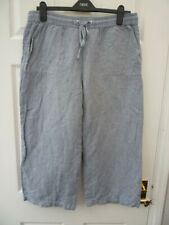 M&S Ladies Size 14 Blue L22.5 Casual Smart Everyday Wide Leg Crop Linen Trousers