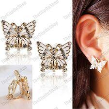CLIP ON crystal BUTTERFLY white enamel GOLD PLATED EARRINGS vintage butterflies