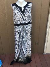 New $159 Chico's Animal Chevron Black White Neutral Maxi Dress 3 = XL 16 18 NWT
