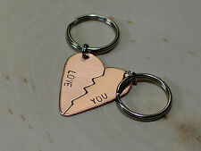 Interlocking copper heart keychain or necklace for couples