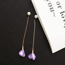 Colorful Flower Pearl Pendant Long Drop Tassel Chain Earrings Jewelry For Women