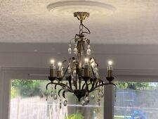 Brass / Gold 5 Light Chandelier/ceiling Light And 4 Matching Wall Lights