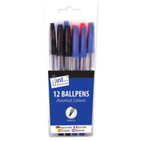 Packet of 12 Office School Ball Point Pens, Black Blue and Red Mixed Pack