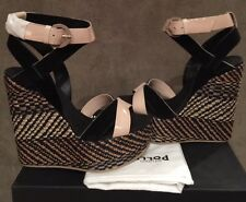 WOMEN STUDIO POLLINI HIGH WEDGE BLACK & PINK TRIMS SANDALS SHOES  SIZE 38 / 7.5