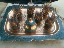 Persian Khatam Stone & Copper Tea Set with try Made by Master Mr Aghajani,