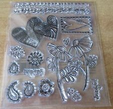 Set of Clear Rubber Stamps - Hearts & Flowers - BN