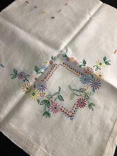 Vintage Hand Embroidered Floral Ecru Tablecloth