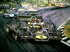 "Nicholas Watts print - "" Black And Gold Victory "" - Signed by Emerson Fittipaldi"