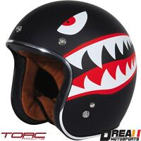 TORC T50 MATTE FLAT TIGER BLACK 3/4 OPEN FACE MOTORCYCLE HELMET DOT XS - XXL