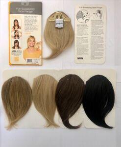 Full Sweeping Side Bangs Clip in on Fringe Hair Extensions Black, Blonde, Brown