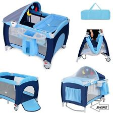 Baby Crib Portable Infant Bed Foldable Bassinet Newborn Playpen w Nursery Table