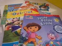 4 livres enfants , dora , oui oui ,pirouette,  les copains de la forêt  (cp10)