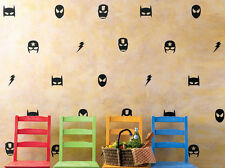 28 Pcs Marvel Mask Wall Stickers Boys Nursery Decor Iron man Batman Spiderman AU