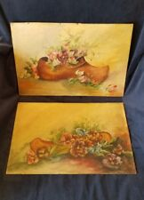 Antique Pair of Dutch Folk Oil Paintings on Cardboard Unanimous Artist