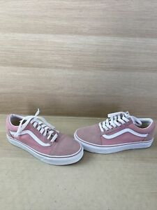 VANS Old Skool Pink Canvas/Suede Lace Up Low Top Skate Shoes Mens 5.5  Women's 7