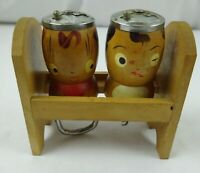 Vintage Barware Salt Bottle Opener and Pepper Cork Screw Wooden Maids made Japan