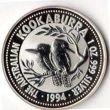 1994 Australian Silver Kookaburra - $5 - 1 Troy Oz 999 Fine Silver