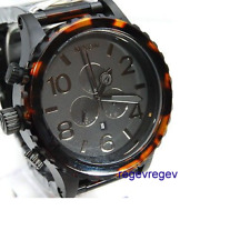 New GENUINE NIXON 51-30 CHRONO Matt Black Dark Tortoise A083-1061 A0831061