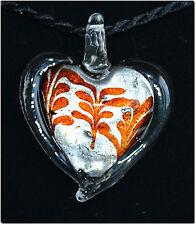 Pendentif cœur verre style Murano feuille argent bijou fait main amour soirée