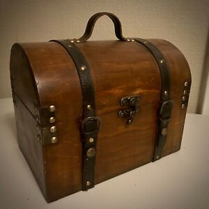 Cool Vintage Wooden Trunk-Style Box with Leather Straps, Unsure of Wood Type/Age