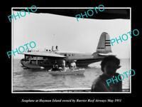 OLD LARGE HISTORIC PHOTO OF BARRIER REEF AIRWAYS SEAPLANE c1951 HAYMAN ISLAND