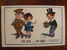cpa illustrateur mac gill no gun no girl enfant humour