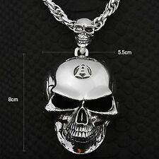 Guntwo Korean Mens Fashion Necklaces - Biker Big Skull Pendant Necklace N0029 UK