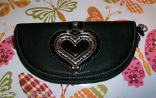 NWT BRIGHTON Black Leather Shoulder bag Large Brighton Silver Heart & Chain