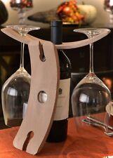 Napa Wood Wine Bottle Caddy Wine Glass Holder