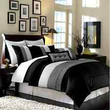 Luxury Stripe Bedding Black Grey and White Queen Size 8 Piece Duvet Cover Set