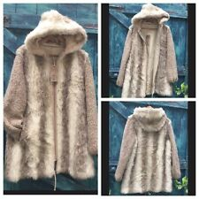 Womens Coat Size L Faux Fur Wolf Vintage Hooded Unique Dubrowsky And Peribinder