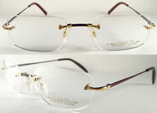 Luxus Brille - Randlos - 750 echt Gold/Titan - Bordeaux Rot Design -UVP ca.2500€