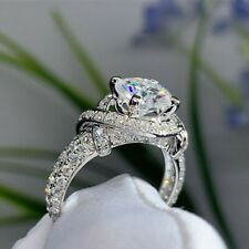 2.74 Ct Moissanite Twisted Engagement Ring 14K White Gold Excellent Round