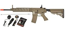 Tan Lancer Tactical AEG SR-16 Electric Auto Airsoft Rifle Gun w/ Battery Charger