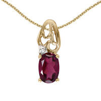 "14k Yellow Gold Oval Rhodolite Garnet And Diamond Pendant with 18"" Chain"