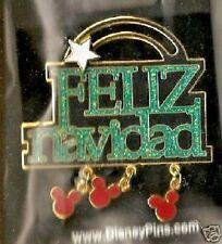 Mickey Mouse Dangle Slider Glitter Feliz Navidad Pin