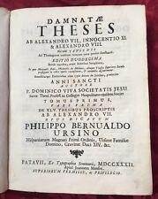 Libro Damnate Theses ab Alexandro VII Innocentio XI Alexandro VIII Domenico Viva