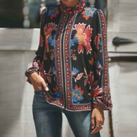 Womens Long Sleeve Casual Floral Loose Blouse Top Chiffon Tops Work T Shirt Tee