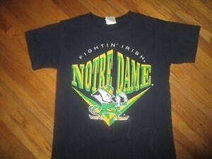 vtg 90s UNIVERSITY OF NOTRE DAME T SHIRT Fighting Irish Leprechaun Nutmeg Mills