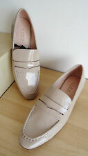NEW ZARA BEIGE PATENT LOW HEELED LOAFERS SHOES SIZE UK 7 EU 40 USA 9